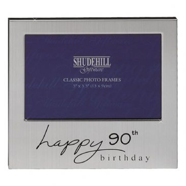Happy Birthday Satin Silver Plated Photo Frame 90th